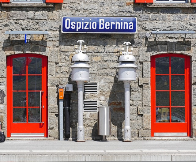 Bernina pass railway station, travel vacation.