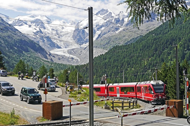 Bernina railway bernina massively pass road, travel vacation.