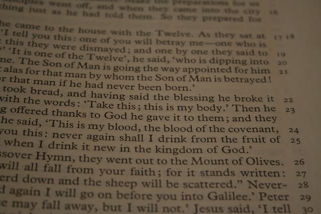 Bible reading passage, religion.