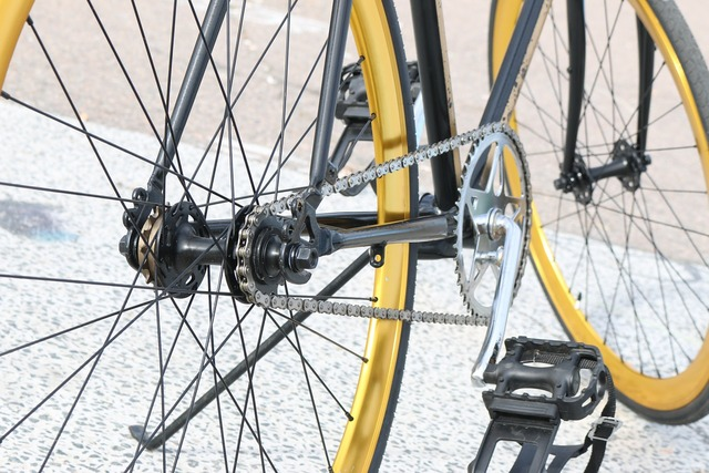 Bicycle gear golden.