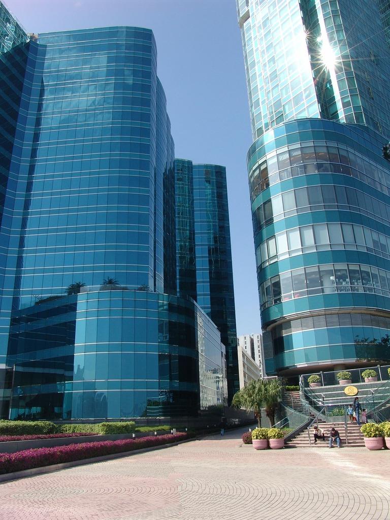 Big city facades view, architecture buildings.