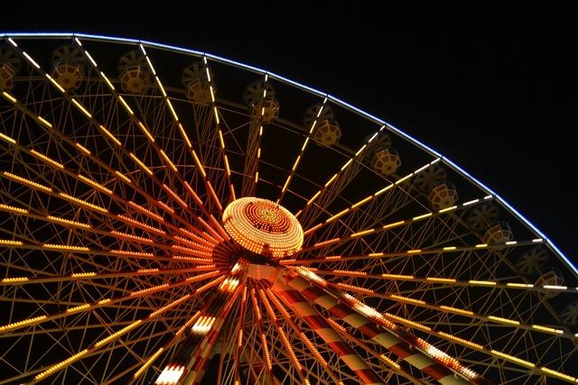 Big wheel ferris wheel night, travel vacation.