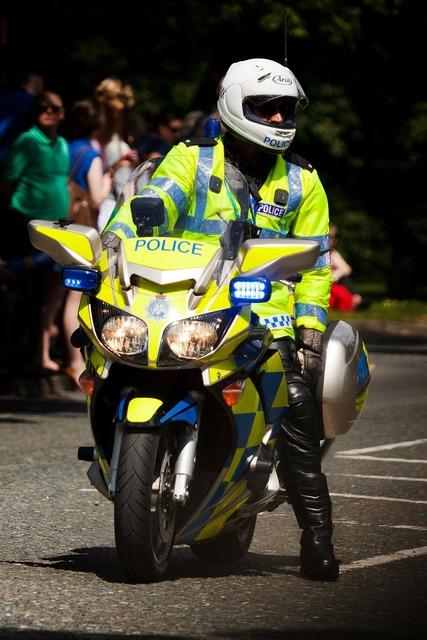 Bike british cop, people.