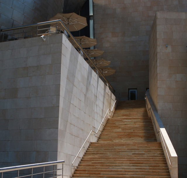 Bilbao guggenheim steps, architecture buildings.