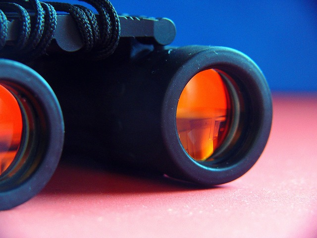 Binoculars see sharp view, beauty fashion.