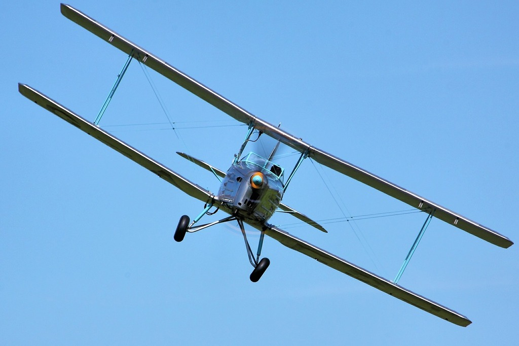 Biplane double-decker propeller, transportation traffic.