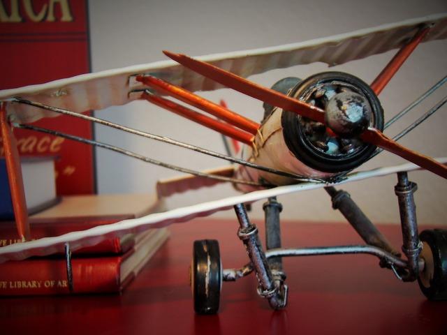 Biplane toy aircraft.