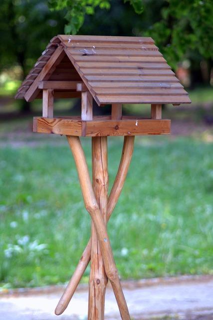 Bird feeding tray shed wooden.