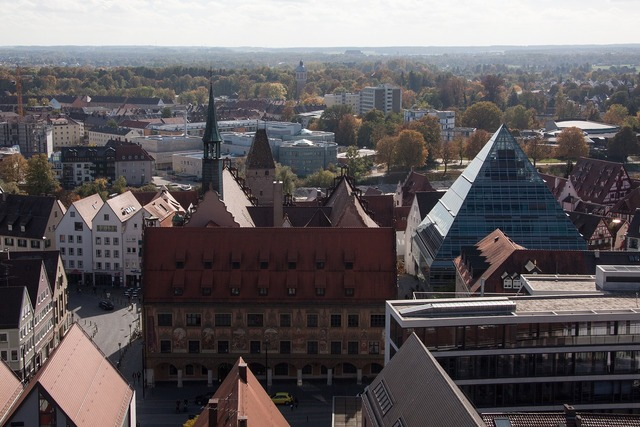 Bird's eye view town hall metzgerturm, architecture buildings.