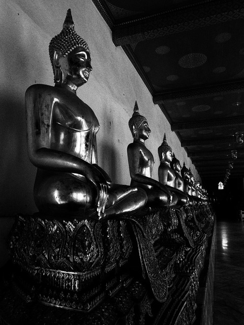 Black and white buddha statue bangkok.