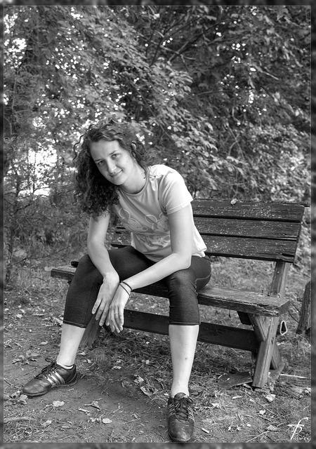 Black white bench female, beauty fashion.