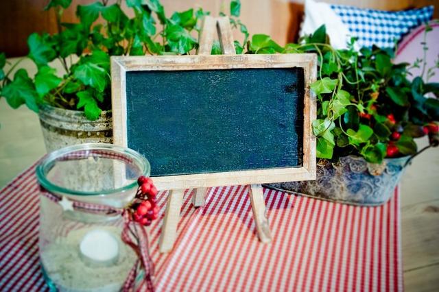 Blackboard easel table decoration, nature landscapes.