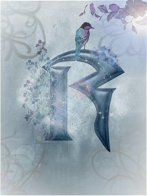 Blue alphabet letter, animals.