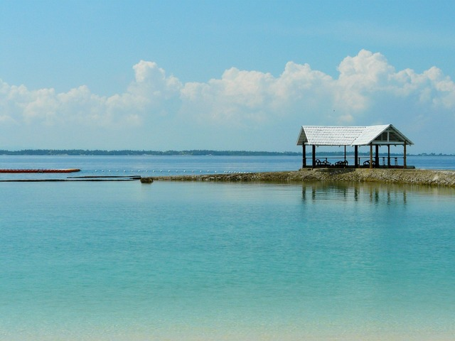 Blue sea clear water resort, travel vacation.