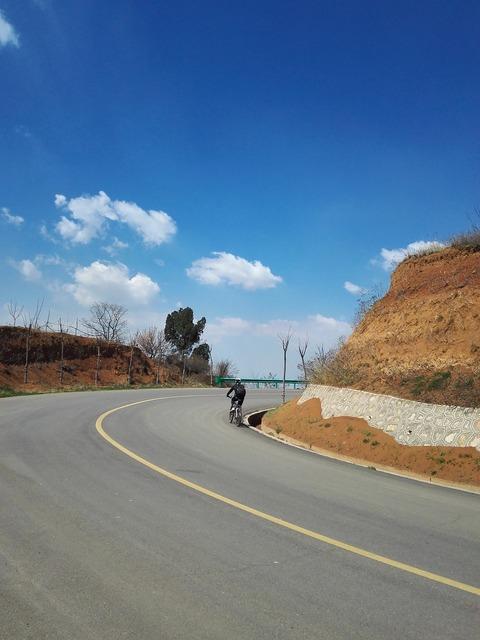 Blue sky bike biker, transportation traffic.