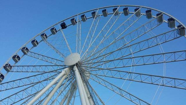 Blue sky giant wheel ferris wheel.