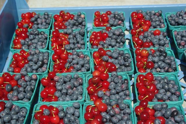 Blueberries cherries fruit, food drink.