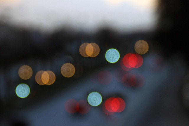 Blur automobile lights, transportation traffic.