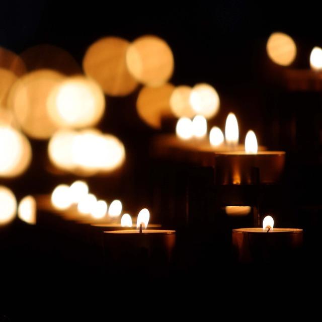 Blurred bokeh candle.
