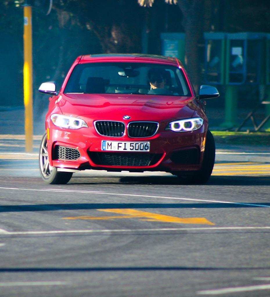 Bmw car red, transportation traffic.