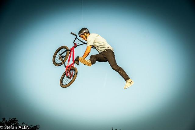 Bmx sports jump, people.