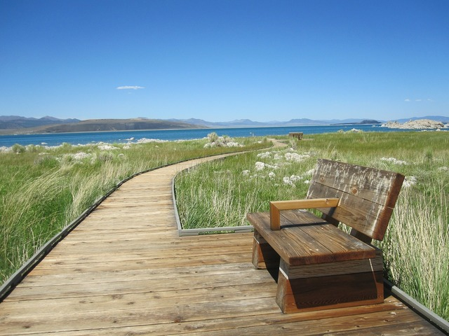 Boardwalk bench relaxm, travel vacation.