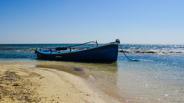 Boat beach sea, travel vacation.