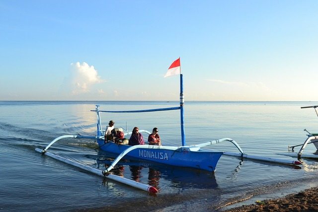 Boat in beach, travel vacation.