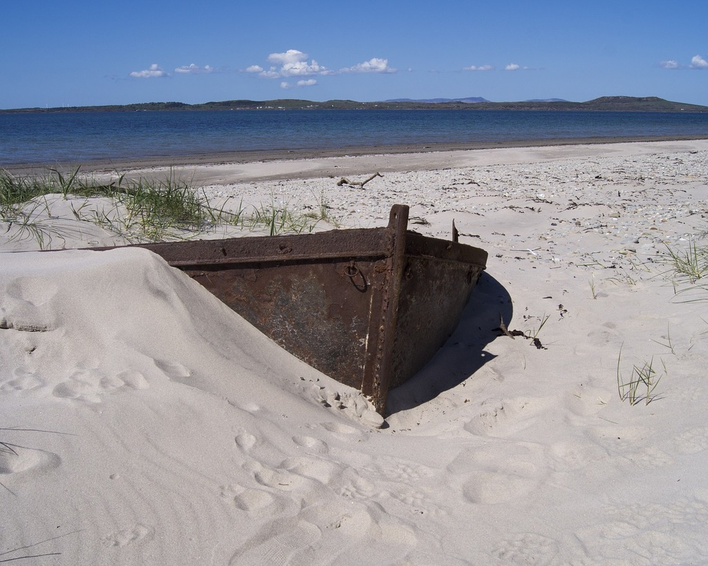 Boat sand beach, travel vacation.