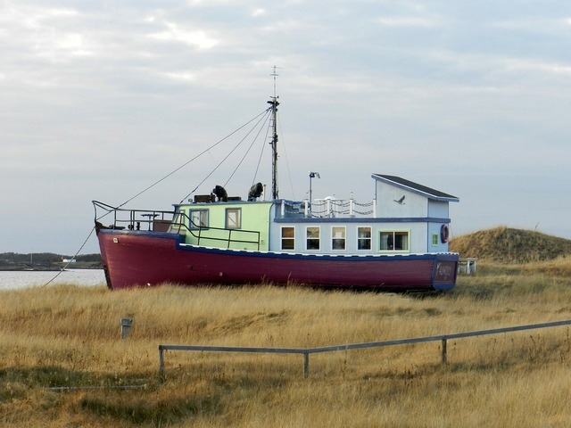 Boat ship stranded, transportation traffic.