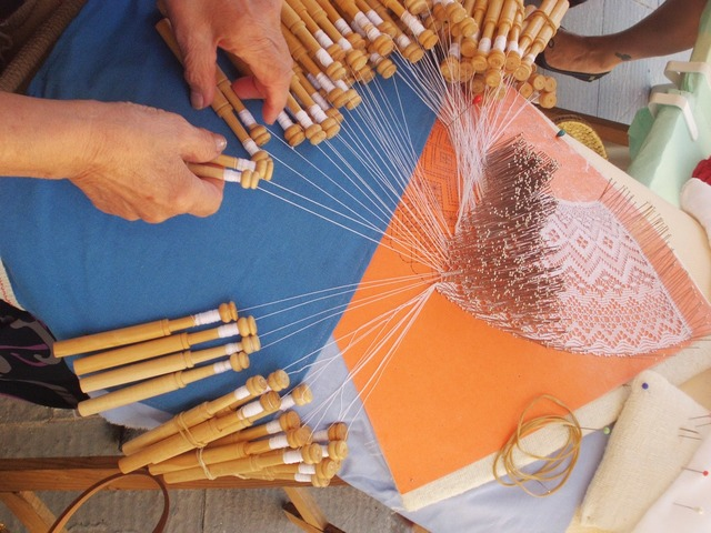 Bobbin lace crafts sewing.