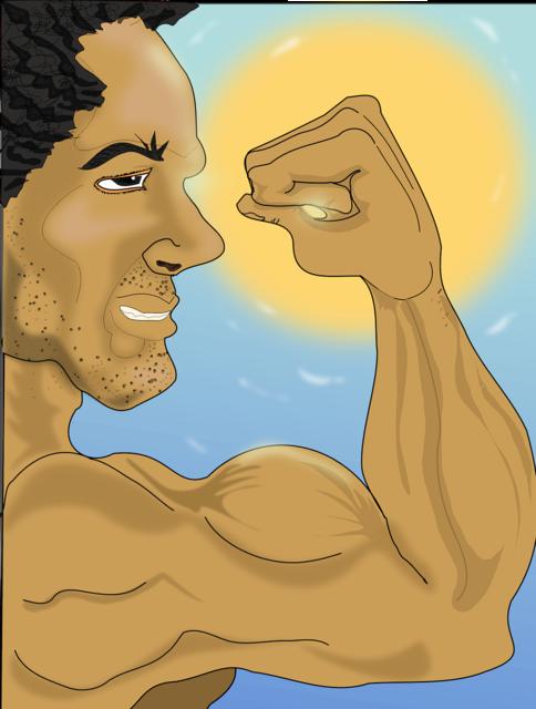 Bodybuilding illustration man, people.