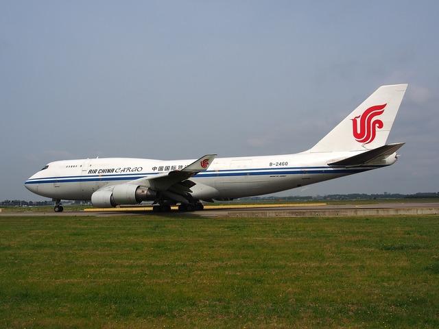 Boeing 747 air china cargo jumbo jet, transportation traffic.