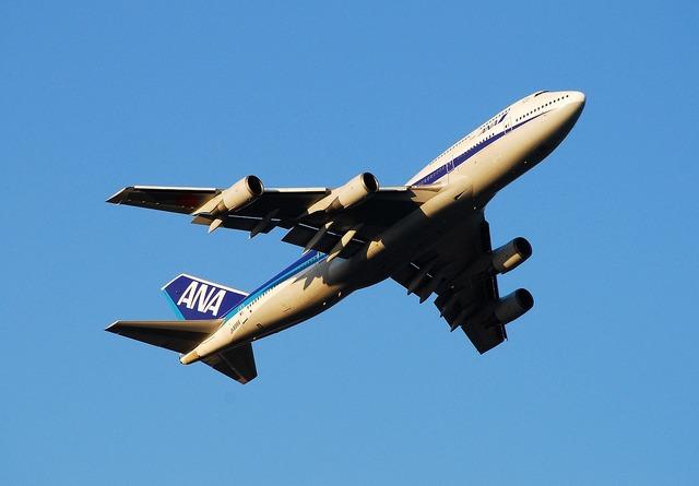 Boeing 747 ana all nippon airways, transportation traffic.