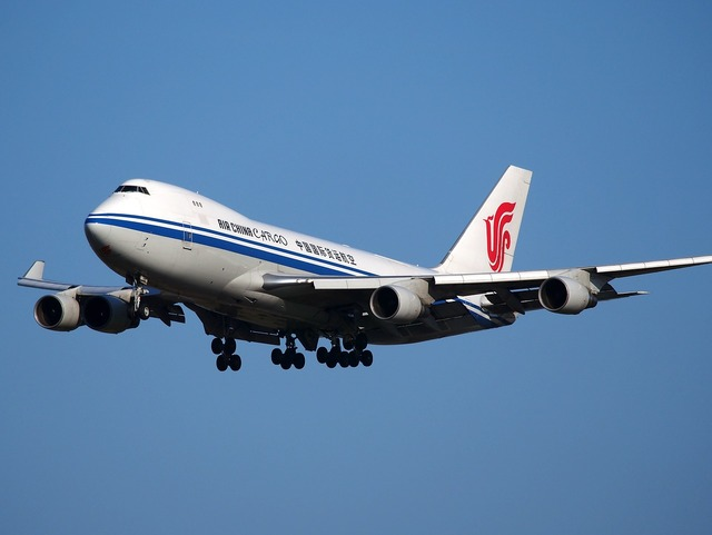 Boeing 747 jumbo jet air china cargo, transportation traffic.
