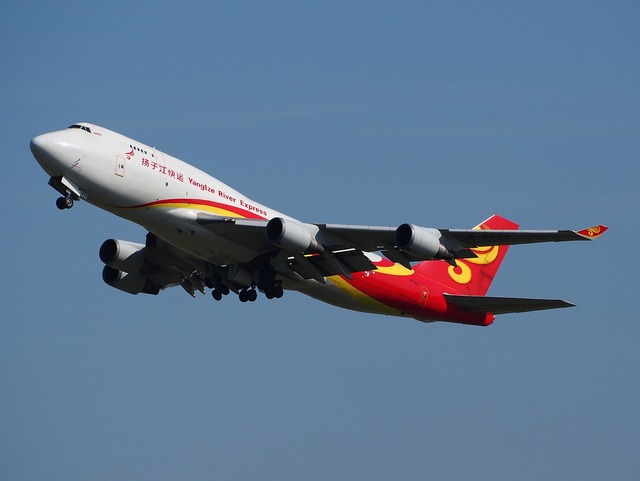 Boeing 747 yangtze river express jumbo jet, transportation traffic.