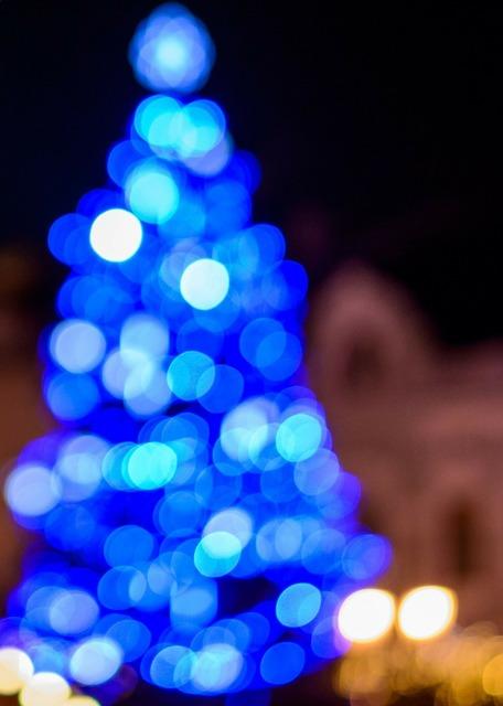 Bokeh christmas decoration light blue.