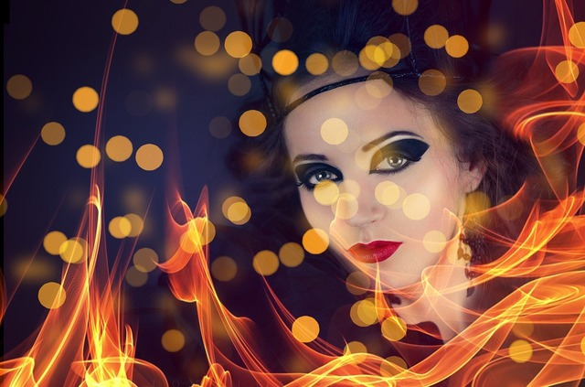 Bokeh face woman, beauty fashion.