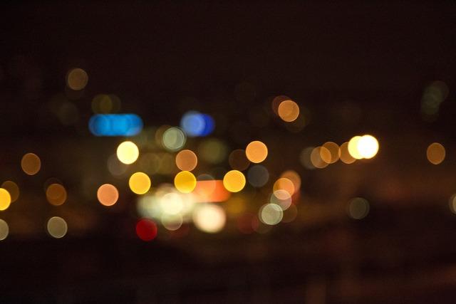 Bokeh night lights, architecture buildings.