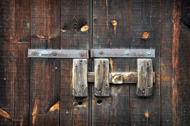 Bolt door closure, architecture buildings.