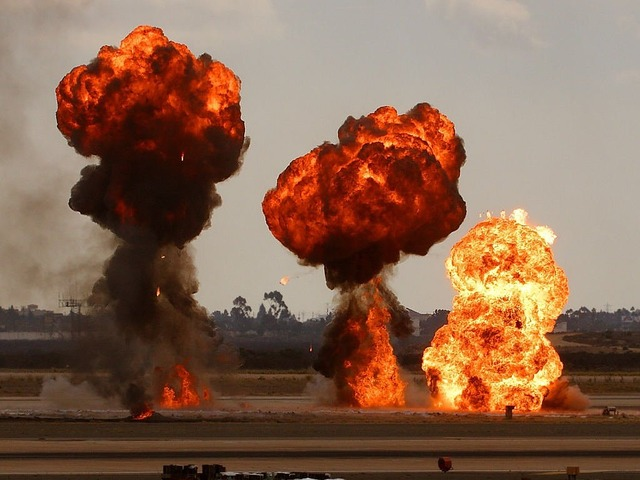 Bomb explosions war.