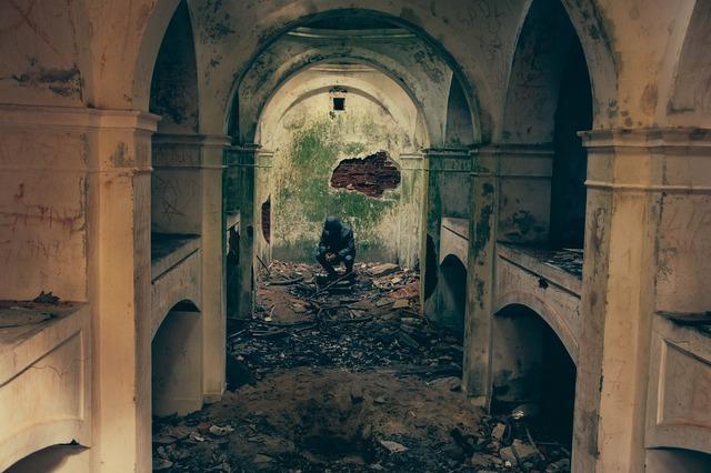 Bombed building destruction, architecture buildings.