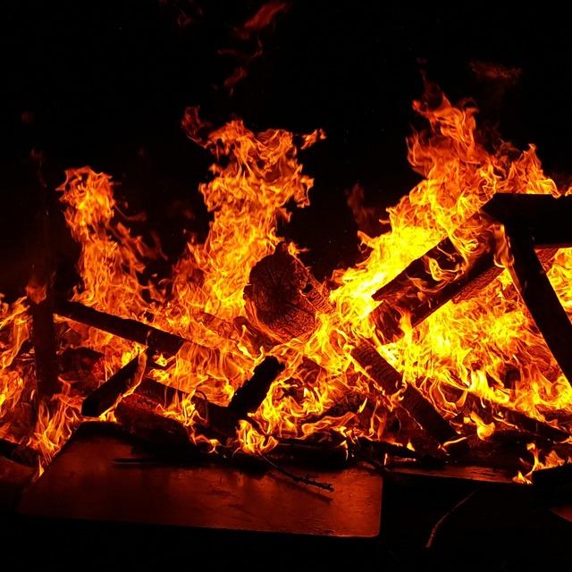 Bonfire fire embers.