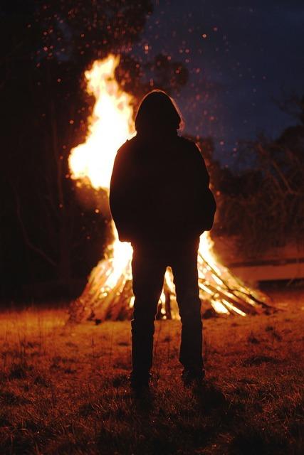 Bonfire fire flame, people.