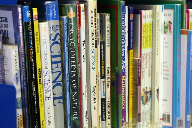 Books shelf organized, science technology.