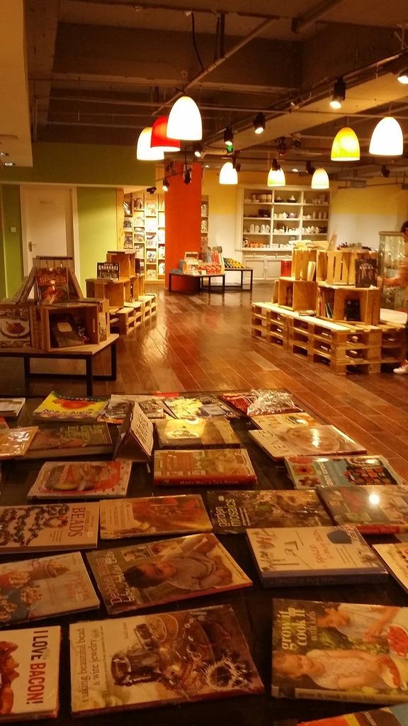 Bookstore indoor warm.