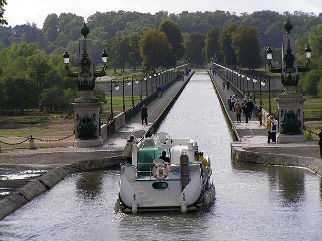 Boot channel ferry, transportation traffic.