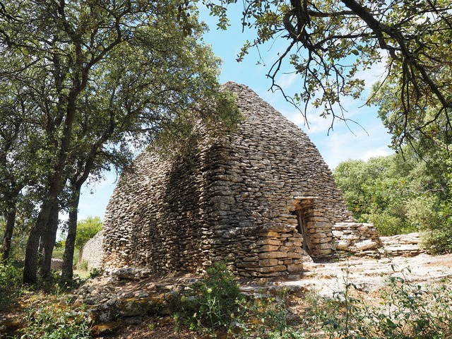Bories rotunda stone house, architecture buildings.