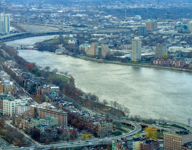 Boston massachusetts charles river, architecture buildings.