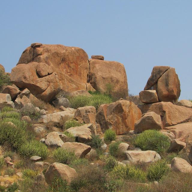 Boulders blue sky hampi, nature landscapes.